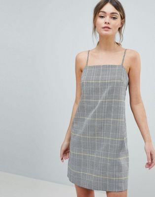 59c5d3e474e4 DESIGN mini check square neck cami dress in 2019 | Work Attire ...