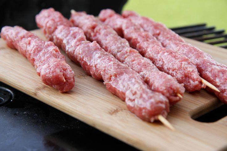 Skewered Vietnamese Pork Sausage, Nem Nuong, ready for the grill.