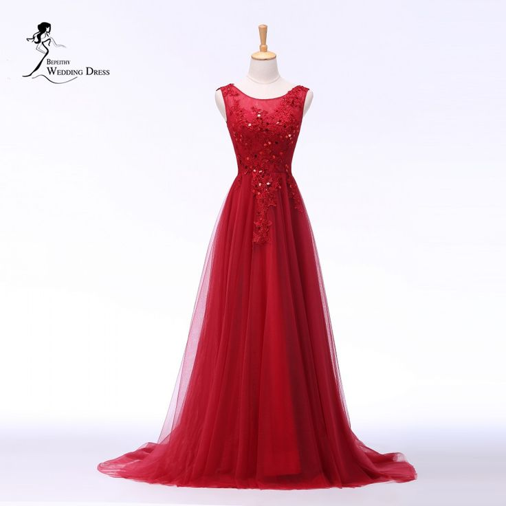 Find More Evening Dresses Information about Robe De Soiree Vestidos De Fiesta New Arrival Scoop Lace Appliques Long Red Evening Dresses Romantic Formal Dresses 2016,High Quality formal dresses 2016,China long red evening dress Suppliers, Cheap evening dress from Isabel_Ye *^_^* on Aliexpress.com