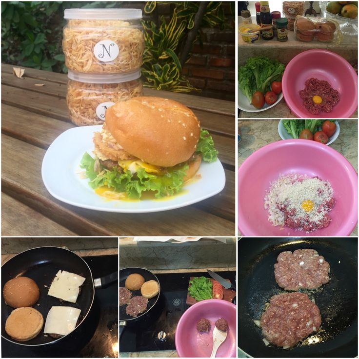 I made homemade burger lastweek, with egg, cheese, beef burger and onion ring filling, and with springkle of krispy fried onion.