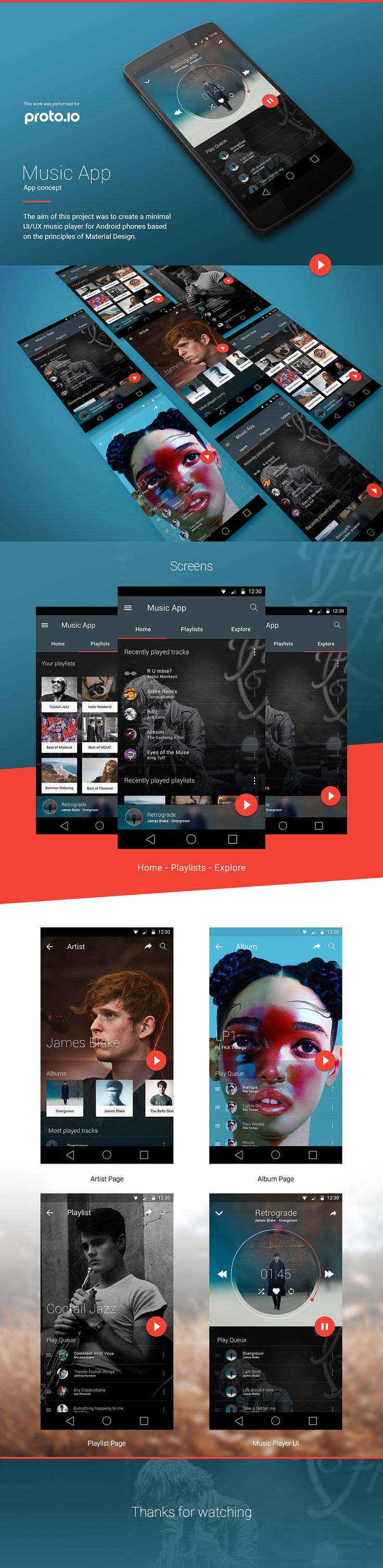 Music App | Material Design on App Design Served
