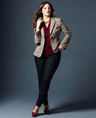 Fall Trend Report Plus Size Jackets Preferred Blazer & Jeans Look - Women - Macy's