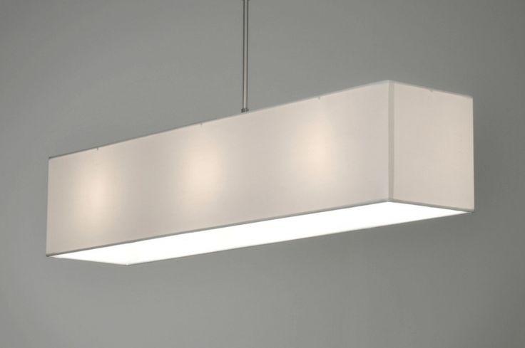Hanglamp 71217 modern staal rvs stof wit rechthoekig langwerpig