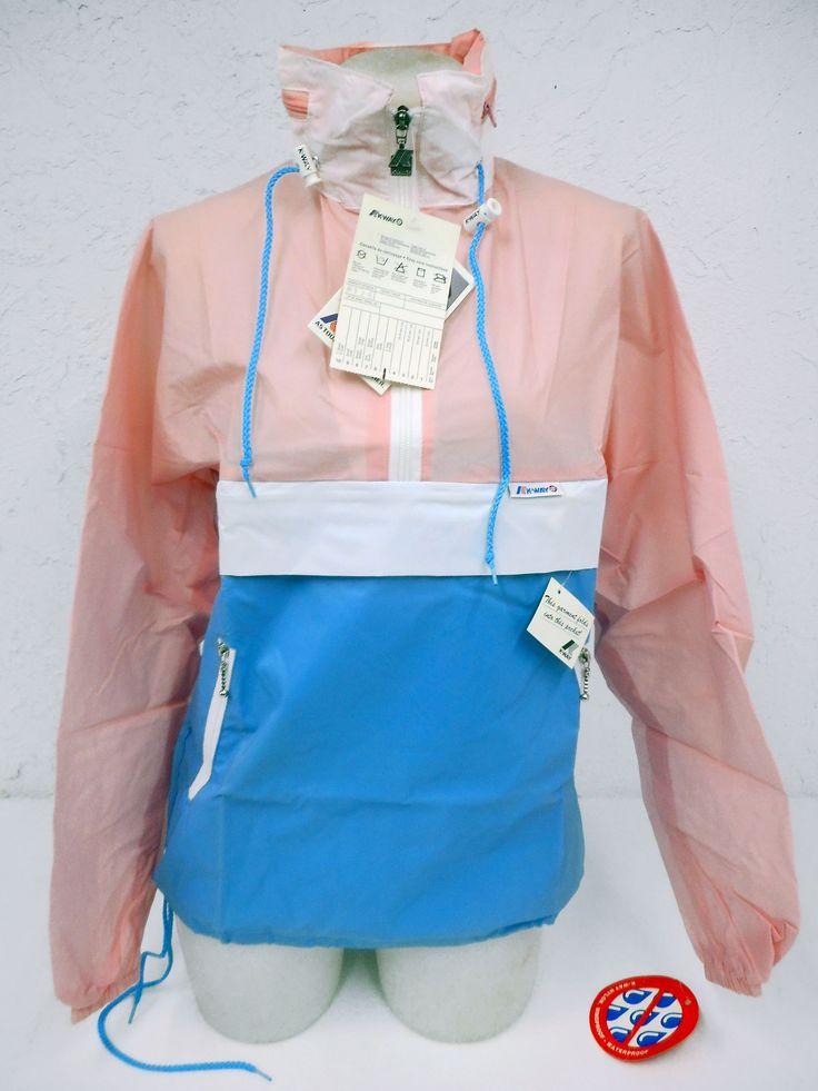 Vintage 1980s K-Way Kway Jacket Windbreaker, Zip Up Waterproof Raincoat, Size 5, Model 126, Blue White Pink, New Old Stock NOS