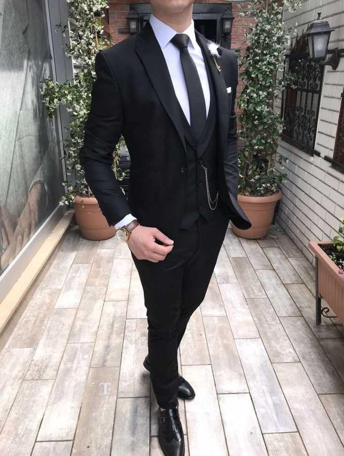 8f37d498d8048 Terziademaltun - İtalyan stil slim fit erkek ceket yelek pantolon siyah  takım elbise T2527
