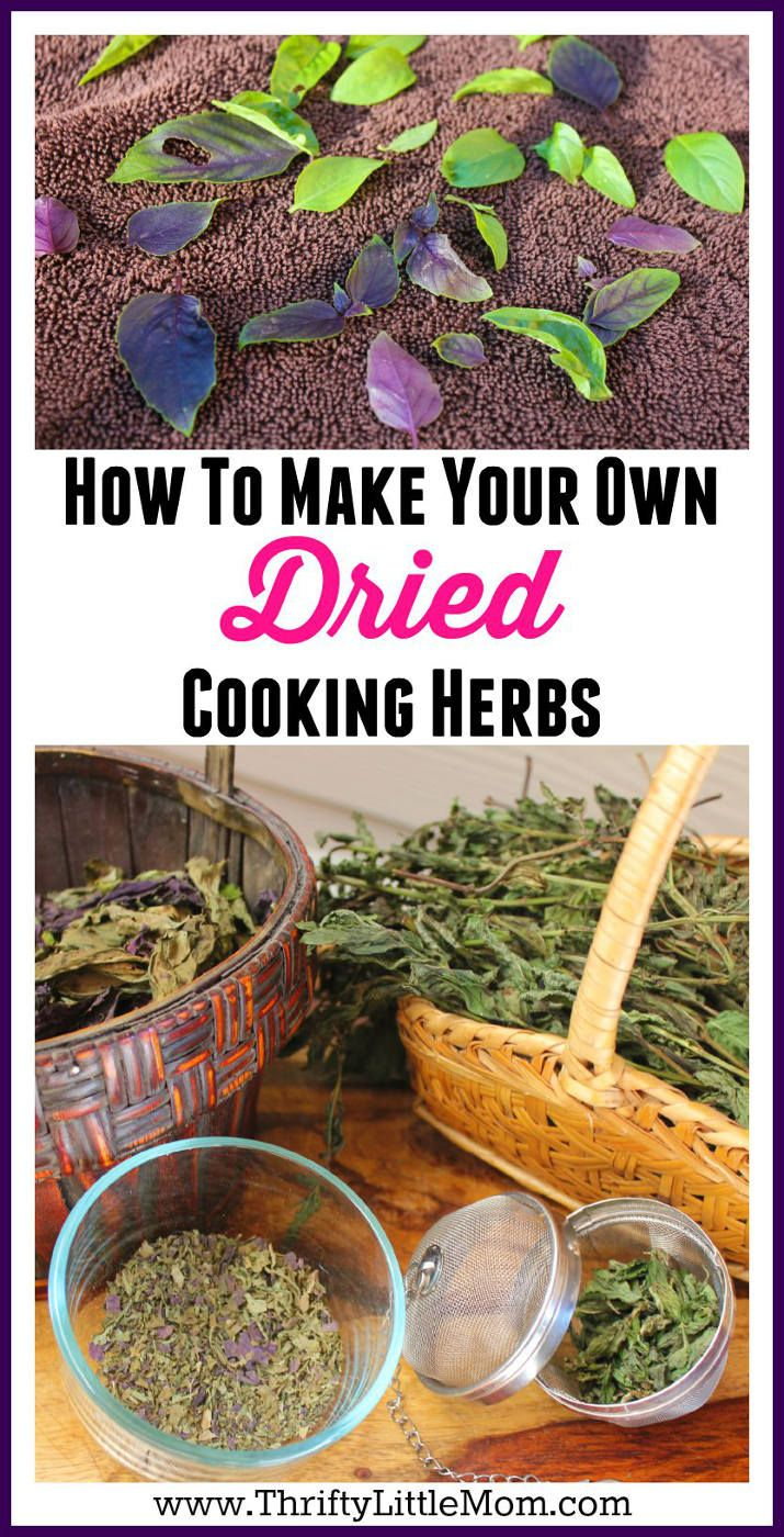 How To Make Your Own Dried Cooking Herbs. Never let your fresh garden herbs become overgrown or wasted!  Follow these simple instructions and you can learn how to make dried herbs for recipe and even how to make your own herbal tea!