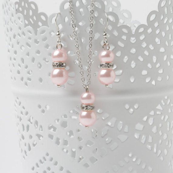 Pink Bridesmaid Jewelry Set, pink pearl earrings and necklace, pink wedding jewelry, pearl jewelry set, bridesmaid gift, Sterling silver by CharmanteBijoux on Etsy
