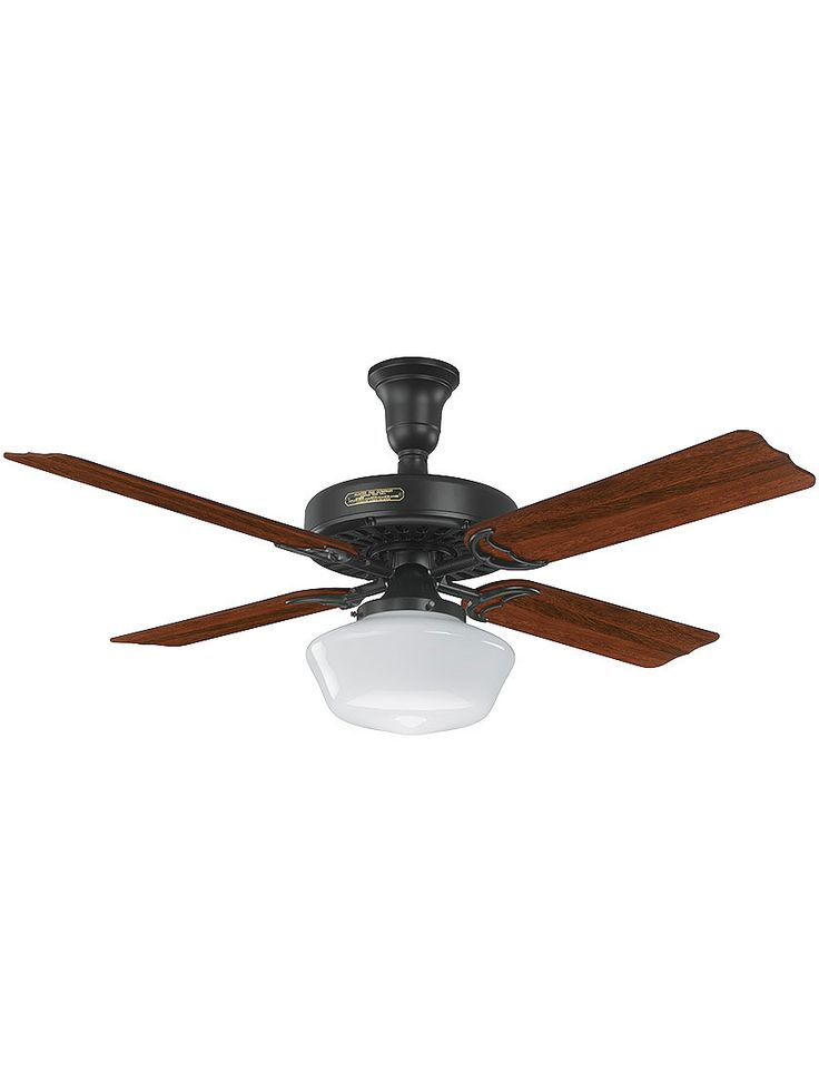 Antique ceiling fan 52 hotel ceiling fan schoolhouse light in black with cherry hunter ceiling fanshunter