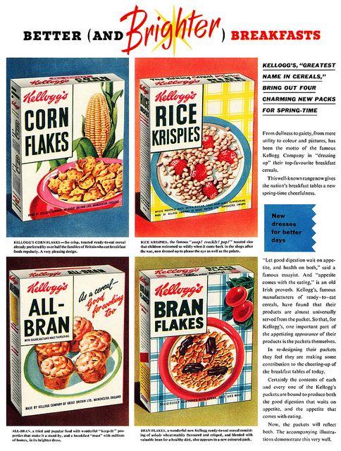 Kellogg's breakfast cereal advertisement, April 1953. #vintage #1950s #food #ads #Breakfast #Cereal #Kellogs #Post