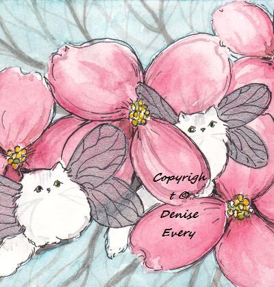 Chinchilla Silver Persian Cat Fairy Pink Dogwood Flowers Spring Fantasy Winged Cat Art Original ACEO ATC Watercolor Painting. $16.99, via Etsy.