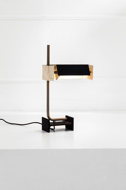 Enameled metal and Brass table lamp, 1965