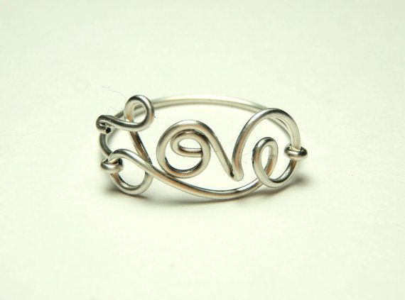 Love ring Sterling silver wire rings  cute script love by keoops8, $14.00