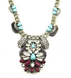 Tortoise And Turquoise Statement Collar Necklace