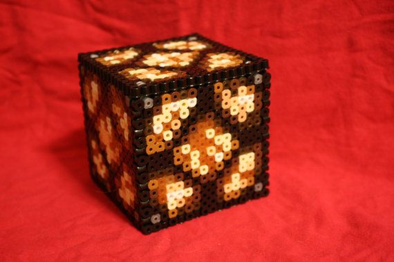 Light Up Minecraft  Redstone Lamp Inspired Box Made of Perler Beads with Removable Lid