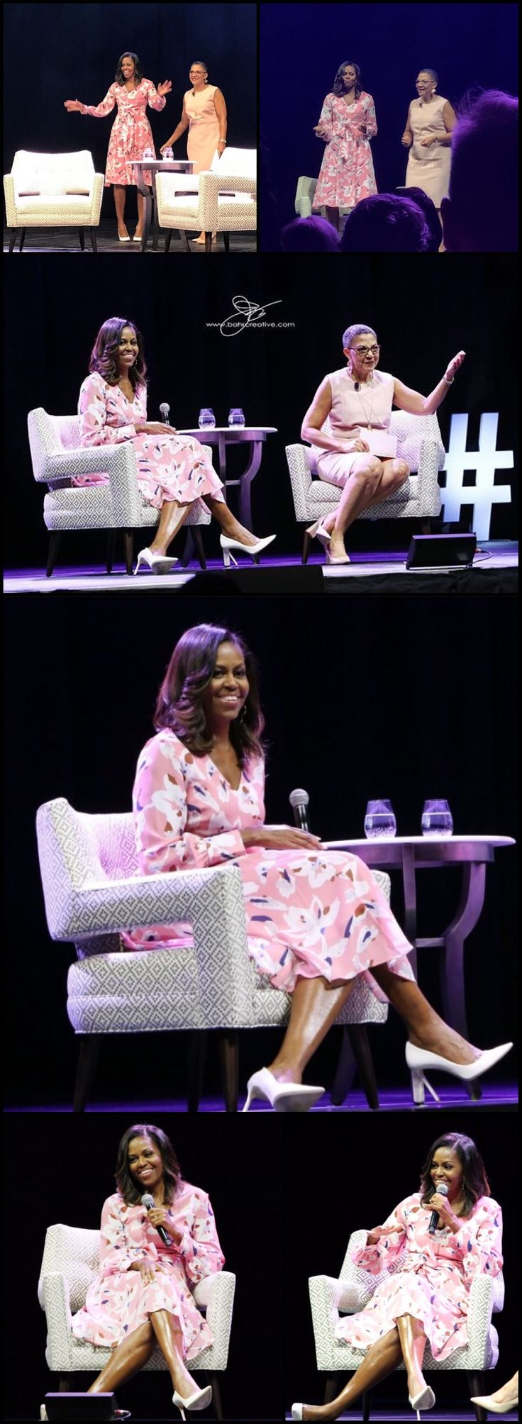 Former #FirstLady #MichelleObama speaks, emphasizing that women must celebrate their strength, during a live conversation with The Women's Foundation of Colorado President and #CEO Lauren Y. Casteel at #PepsiCenter in #Denver #Colorado Tuesday night #June25th #2017 speaking to a crowd of some 8000 people #WFCO #ouchmagazineny #ouchmagazine #LaurenYCasteel