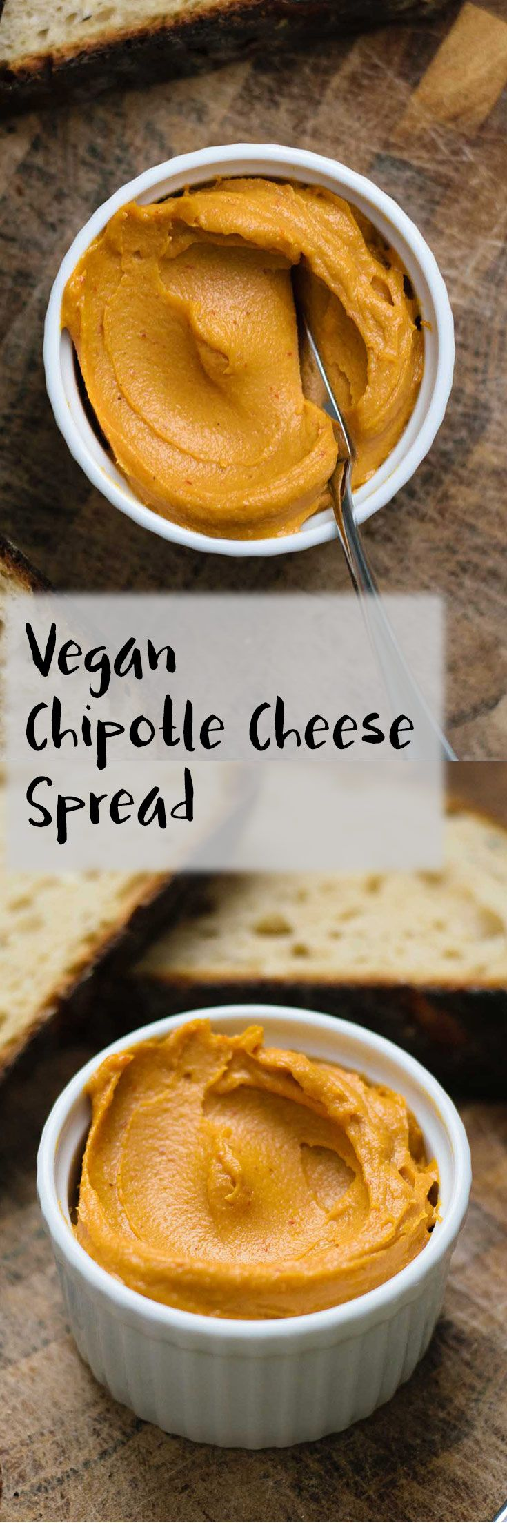 This vegan chipotle cheese spread is a delicious smokey cashew-based and ultra creamy cheese. It's quick and easy to make and is perfect for spreading on toast or crackers! | thecuriouschickpea.com #vegancheese