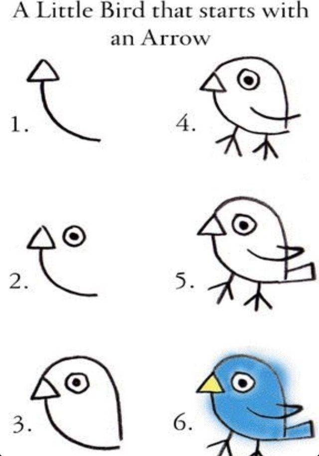Easy way for kids to draw a bird