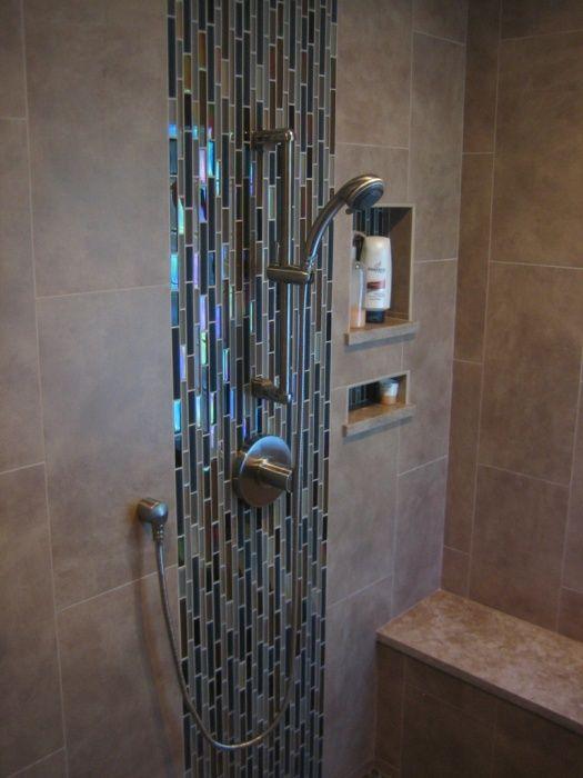 Hand held shower side 12x24 Porcelain Tile, Marble Slab & Pebble Tile