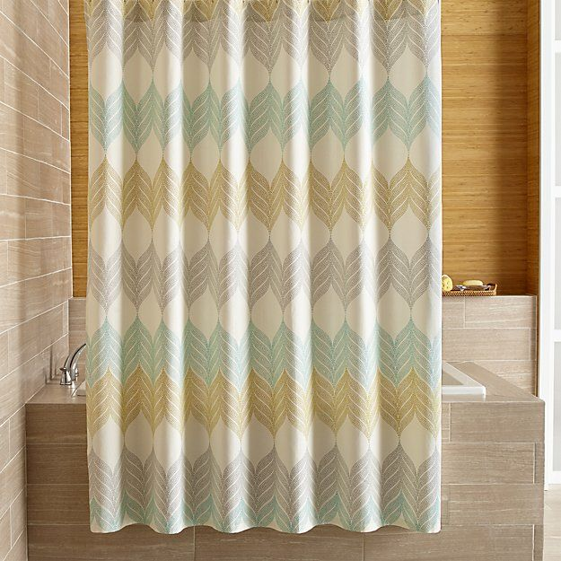 Free Shipping.  Shop Sheesha Leaf Shower Curtain.  Tropical leaves go end to end in soft pastel shades of aqua, grey and light olive on a cream-colored background, adding  a breath of serene color to the bath.