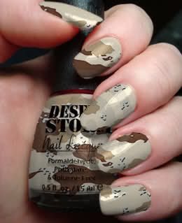 I never really liked camouflage, but this would look awesome ... camping trip nails? haha