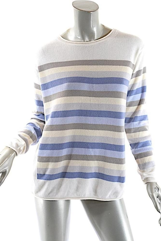 74e471aef LORO PIANA  Baby Cashmere  Ivory Blue Taupe Cashmere Striped Sweater ...