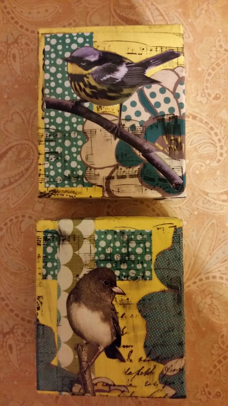 Upcycled, mixed media.  Made with pudding boxes, stamps, paper scraps, old magazine photos.