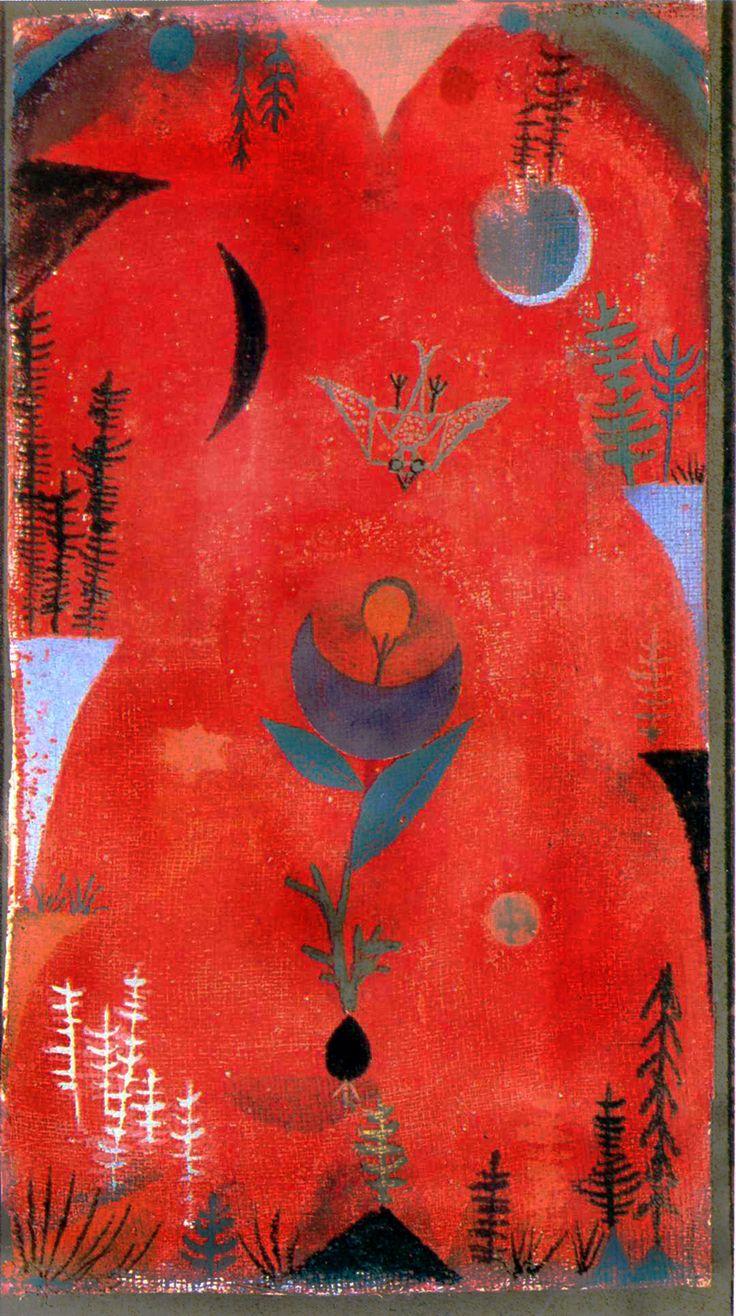 Paul Klee - Blumenmythos (Flowermyth) - 1918 Watercolor on chalk primer on gauze on newsprint on silver bronze paper on cardboard