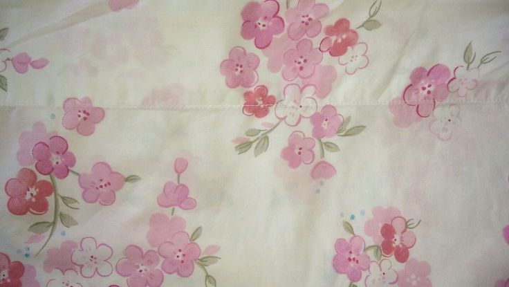 Pottery Barn Kids Flower Twin Flat Sheet Floral White Pink Green  #PotteryBarnKids