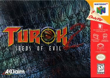 Turok 2: Seeds of Evil (Acclaim), N64; first-person shooter video game originally released for the Nintendo 64 in late 1998. was the first N64 game to allow use with the RAM Expansion Pak. in Turok 2, player is armed with different types of weapons in order to kill enemies. A new addition are mission objectives to perform, such as destroying ammunition dumps or activating beacons. Famitsu scored the game 30 out of 40.
