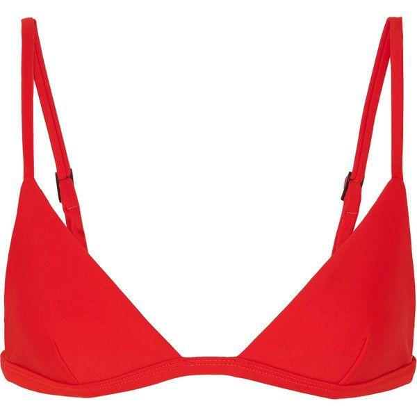 Matteau Petite Triangle bikini top (€110) ❤ liked on Polyvore featuring swimwear, bikinis, bikini tops, red, red bikini top, patterned bikini, tankini tops, swim tops and red triangle bikini