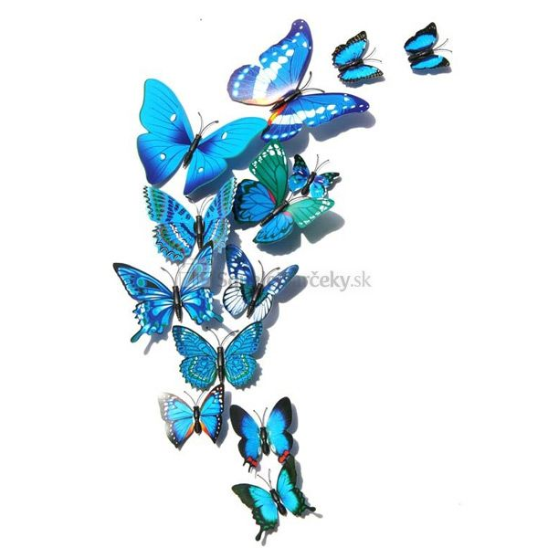 Motýle nálepky na stenu (12 kusov v balení) – rôzne varianty