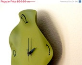 CIJ SALE, Teal Clock, Home Decor, Hand Record Clock, Eco Friendly Art