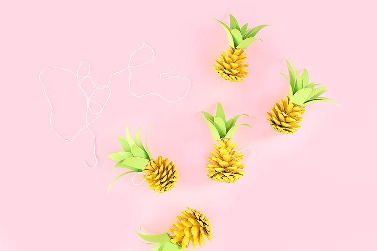 Diy pine cone pineapple ornaments