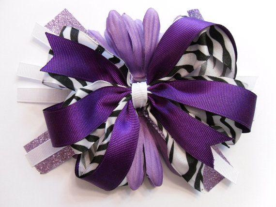 Girls Hair Bow-Zebra print and purple hair bow. $6.50, via Etsy.