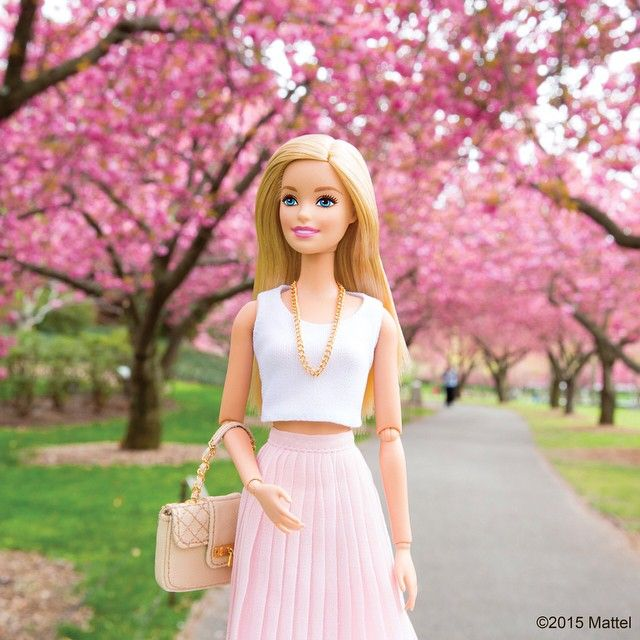 Everything is pretty in pink at @brooklynbotanic, the cherry blossoms are in bloom!  #barbie #barbiestyle