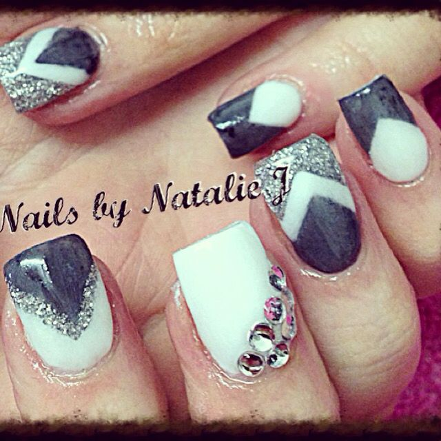 Grey/silver/white acrylic inspiration from the nail boss