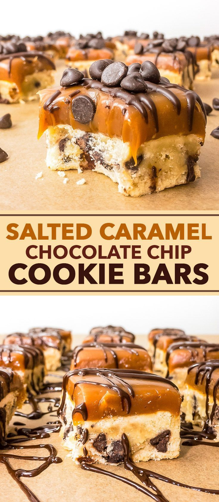 Salted Caramel Chocolate Chip Cookie Bars - These super decadent and incredibly delicious cookie bars are extremely easy to make. Crumbly, buttery chocolate chip cookie dough is paired perfectly with luscious salted caramel, and the extra melted chocolate