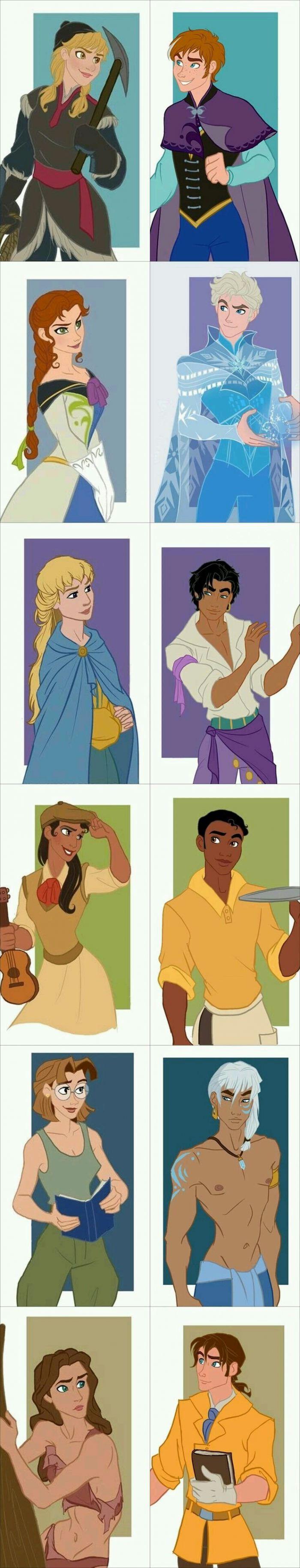 Just some Disney gender bends Kristoff, Anna, Hans, Elsa, Febo, Esmeralda, Naveen, Diana, Milo, Kida, Tarzan, Jane