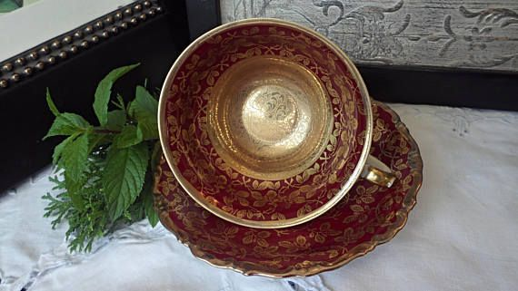 Kunst Kronach Teacup and Saucer Red and Gold Teacup Germany