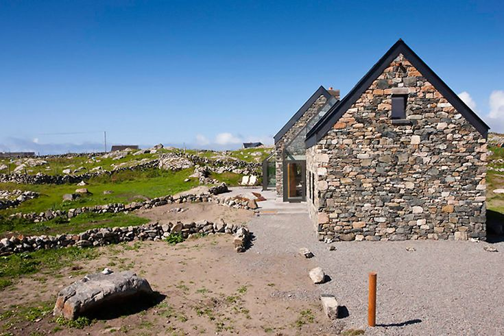 old stone walls and old stone houses in connemara, ireland