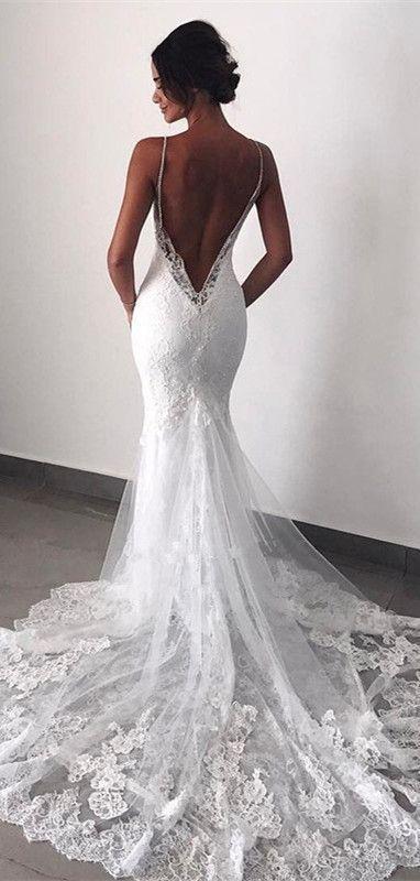 Charming Backless Lace Spaghetti straps Mermaid Wedding Dress with Train,Beach Wedding Dresses,506
