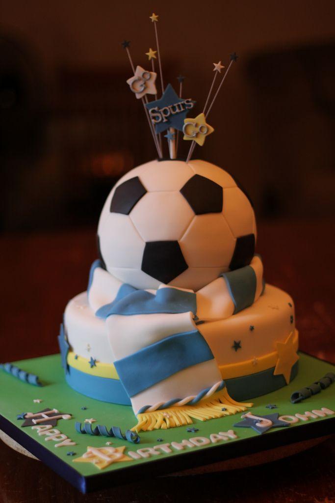 https://flic.kr/p/7LMX4C | Tottenham Spurs Soccer cake | Bottom tier vanilla cake with vanilla buttercream.  Top tier is Chocolate cake with chocolate buttercream.