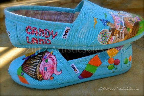 Candy Land Custom Hand Painted TOMS Shoes by ArtisticSoles on Etsy, $145.00