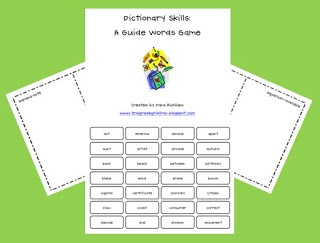 dictionary skills and other language arts center tasks