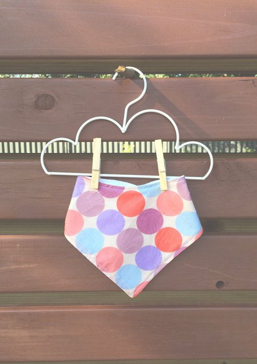 Girly Spot Dot Printed Dribble Bandana Bib Pink, Blue, Purple