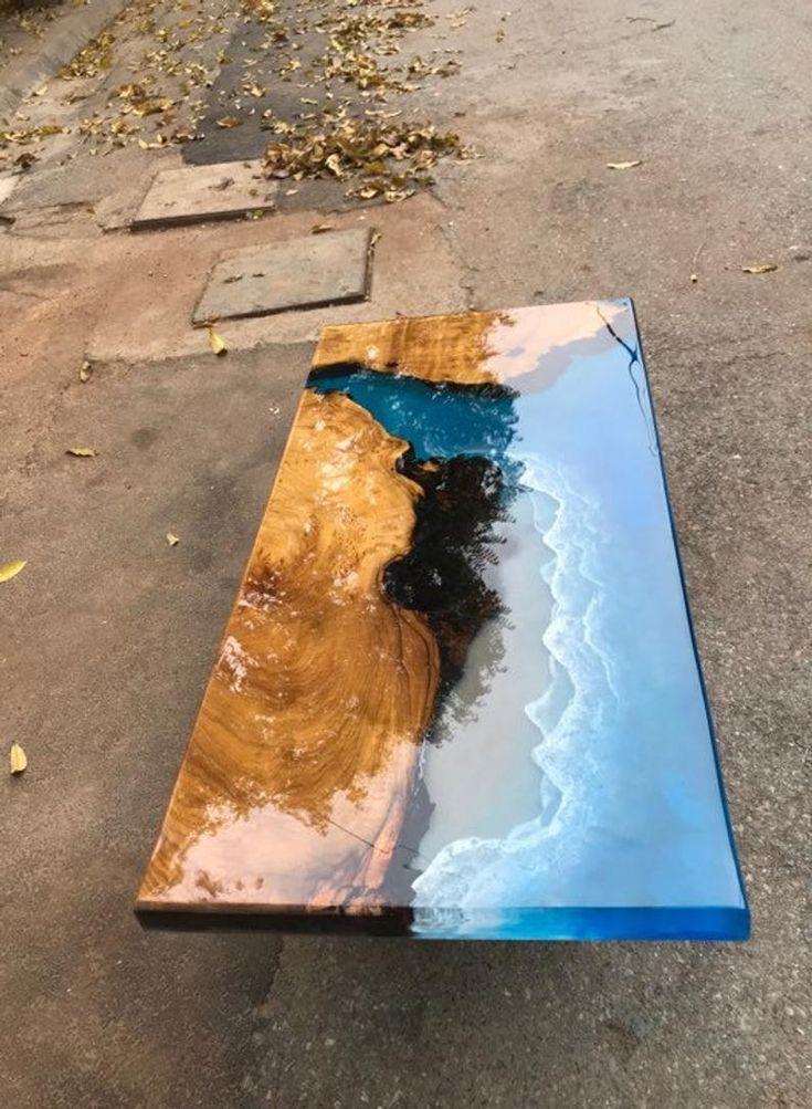 Couchtisch Epoxy Tisch Flusstisch Ozean handgemacht schönen Tisch