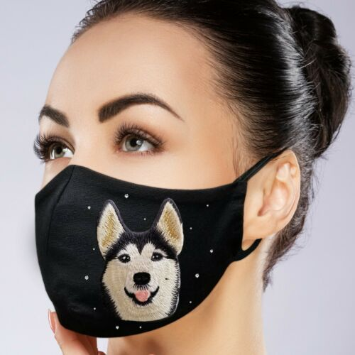 Face Mask Black Washable Filter Pocket Custom Made Embroidery And Rhinestone Ebay In 2020 Face Mask Husky Faces Face