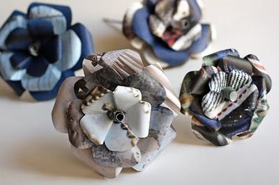 Recycled Magazine Paper Flowers.