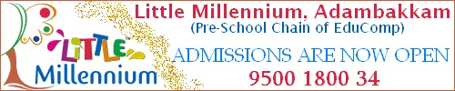 LITTLE MILLENNIUM™, ADAMBAKKAM is part of a highly successful chain of pre-schools promoted by one of India's largest and most respected names in education, Educomp. Little Millennium™ has pan-India network of centres and a commitment to creating a solid foundation for the successful future for every child and offers: Developing Roots (Play Group), Emerging Wings (Nursery), Ready to Fly (Kindergarten KG) and Hobby Club (Activities).