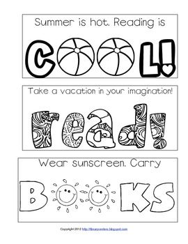 Printable summer bookmarks. | Cari Young @ http://librarycenters.blogspot.com/